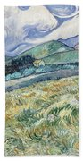 Landscape From Saint Remy At Wheat Fields  Van Gogh Series   By Vincent Van Gogh Beach Towel
