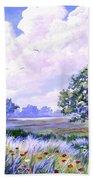 Landscape In Blues Beach Towel