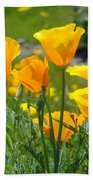 Landscape Poppy Flowers 5 Orange Poppies Hillside Meadow Art Beach Towel