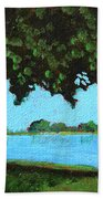Landscape With A Lake And Tree Beach Towel