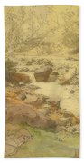 Landscape With Rocks In A River Beach Towel