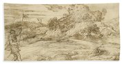 Landscape With St. Theodore Overcoming The Dragon Beach Towel