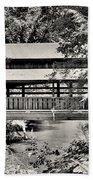 Lanterman's Mill Covered Bridge Black And White Beach Towel