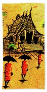 Procession To Temple, Lao Collection Beach Towel