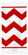 Large Chevron With Border In Red Beach Towel