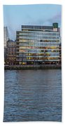 Large Panorama Of Downtown London Betwen The London Bridge And T Beach Towel