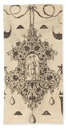 Large Pendant, Temperance Standing At Centre Beach Towel