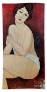 Large Seated Nude Beach Towel by Amedeo Modigliani