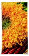 Large Sunflower On Indian Corn Beach Towel