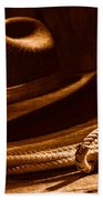 Lariat And Hat - Sepia Beach Towel