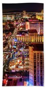 Las Vegas Strip North View Night 2 To 1 Ratio Beach Towel