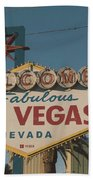 Las Vegas Welcome Sign With Vegas Strip In Background Beach Towel