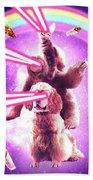 Laser Eyes Space Cat Riding Sloth, Dog - Rainbow Beach Towel