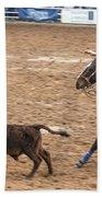 Lassoing The Calf Beach Towel
