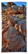 Last Sunlight On Jagged Sandstone In Valley Of Fire Beach Towel