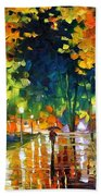 Late Night - Palette Knife Oil Painting On Canvas By Leonid Afremov Beach Towel