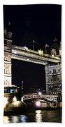 Late Night Tower Bridge Beach Towel by Elena Elisseeva