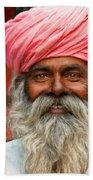Laughing Indian Man In Turban Beach Sheet
