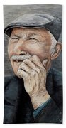 Laughing Old Man Beach Towel
