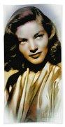 Lauren Bacall - Vintage Painting Beach Towel