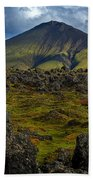 Lava Field And Mountain - Iceland Beach Towel