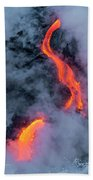 Lava Flowing Into The Ocean 20 Beach Towel by Jim Thompson