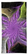 Lavendar Fractal Flower Beach Towel
