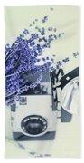 Lavender And Kodak Brownie Camera Beach Towel