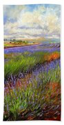 Lavender Field Beach Towel by David Stribbling