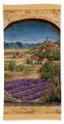 Lavender Fields And Village Of Provence Beach Towel