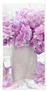 Lavender Peonies White Mason Jars - Romantic Shabby Chic Lavender Purple Peonies Mason Jars Beach Towel