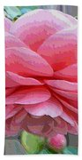Layers Of Pink Camellia - Digital Art Beach Towel