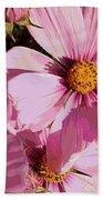 Layers Of Pink Cosmos - Digital Art Beach Towel