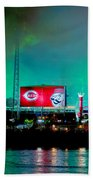 Laser Green Smoke And Reds Stadium Beach Towel