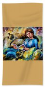 Lazy Time - Palette Knife Oil Painting On Canvas By Leonid Afremov Beach Towel
