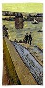 Le Pont De Trinquetaille In Arles Beach Towel by Vincent Van Gogh