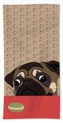 Le Pug Et Le Macaron Beach Towel