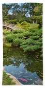 Lead The Way - The Beautiful Japanese Gardens At The Huntington Library With Koi Swimming. Beach Towel
