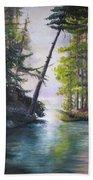 Leaning Tree Lake George Beach Towel