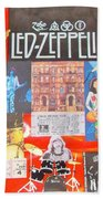 Led Zeppelin Color Collage Beach Towel