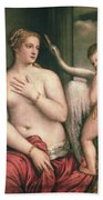Leda And The Swan Beach Towel by Titian