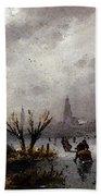 Leickert Charles Henri Joseph Figures On A Frozen Lake Beach Towel