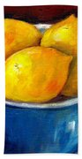 Lemons In A Blue Bowl Grace Venditti Montreal Art Beach Towel