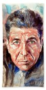 Leonard Cohen Painting Beach Towel