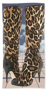 Leopard Boots With Ankle Straps Beach Towel