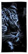 Leopard In The Darkness.  Beach Towel