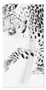 Leopard Spots Black And White Beach Towel