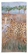 Leopard With Cub Beach Towel