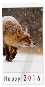 Let It Snow 4 - New Years Card Red Fox In The Snow Beach Towel