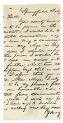 Letter From Abraham Lincoln To Alden Beach Towel